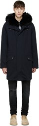 Yves Salomon Navy Fur Lined Original Parka