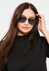 Missguided Black Classic Gold Frame Aviator Sunglasses