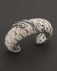 John Hardy Naga Silver Medium Squeeze Cuff With White Color Exotic Skin With African Ruby Eyes Silver White