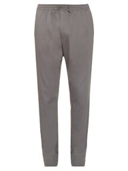 Tomas Maier Drawstring Straight Leg Cotton Blend Trousers Grey