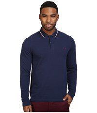 Fred Perry Long Sleeve Twin Tipped Shirt Carbon Blue Ecru Mahogany Men's Clothing Navy