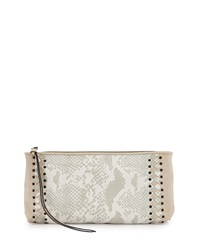 Elliott Lucca Maia Snake Embossed Woven Clutch Stone