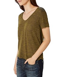 Karen Millen Studded Shoulder Tee Khaki Green