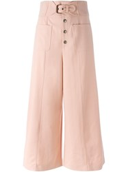 Red Valentino High Waisted Wide Legged Cropped Trousers Pink And Purple