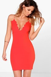 Boohoo Plunge Neck Scallop Bodycon Dress Orange