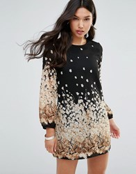 Yumi Long Sleeve Shift Dress In Graduated Floral Print Black