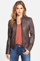 7 For All Mankind Pintuck Detail Leather Jacket Truffle