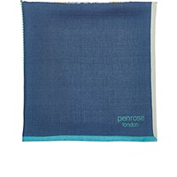 Penrose London Men's Mixed Print Bee Eater Pocket Square Blue