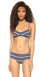 Only Hearts Club So Fine V Neck Bralette Navy Stripe