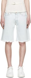 Off White Blue Denim Bleach Shorts
