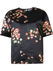 Rochas Floral Print Satin Top Black