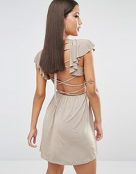 Oh My Love Frill Skater Dress With Strappy Back Mink Brown