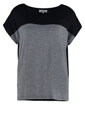 Zalando Essentials Print Tshirt Black Dark Grey Melange