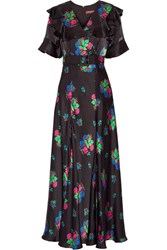 Duro Olowu Wrap Effect Floral Print Silk Satin Maxi Dress Black