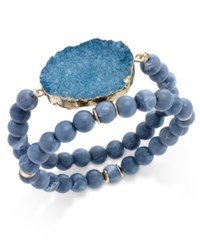 Inc International Concepts Gold Tone 2 Pc. Druzy Crystal Beaded Bracelet Set Only At Macy's Teal
