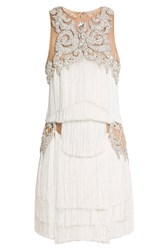 Balmain Dress With Fringing And Crystal Embellishment Beige
