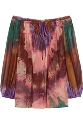 Emilio Pucci Off The Shoulder Printed Silk Chiffon Top Pink