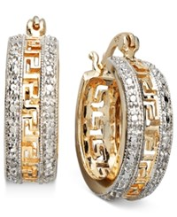 Victoria Townsend 18K Gold Over Sterling Silver Earrings 1 Diamond Accent Greek Key Hoop Earrings No Color