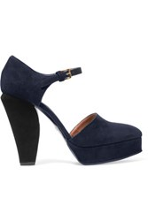 Marni Suede Mary Jane Pumps Midnight Blue