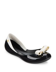 Melissa Queen Iv Jelly Ballet Flats Black White