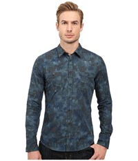 Boss Orange Edoslime Water Color Print Shirt Navy Men's Long Sleeve Button Up Black