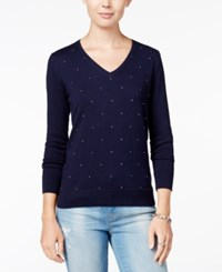 Tommy Hilfiger Ivy Embellished V Neck Sweater Only At Macy's Peacoat
