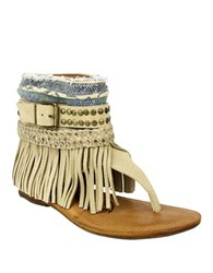 Naughty Monkey Amiga Fringe Leather Thong Sandals Beige