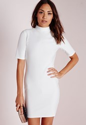 Missguided High Neck Short Sleeve Bodycon Dress White