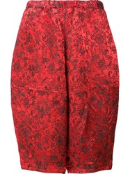 Comme Des Garcons Jacquard Cropped Trousers Red