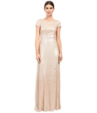 Adrianna Papell Short Sleeve Sequin Long Dress Nude Women's Dress Beige