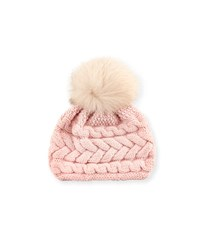 Inverni Cashmere Cable Knit Beanie Pink Beige Pink Beige