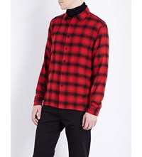 Sandro Grizzly Regular Fit Cotton Shirt Black Red