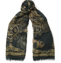 Alexander Mcqueen Printed Silk And Modal Blend Scarf Black