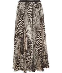 Viyella Animal Crinkle Skirt Brown