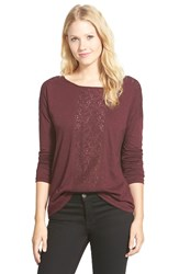 Caslon Lace Inset Long Sleeve Tee Burgundy Stem