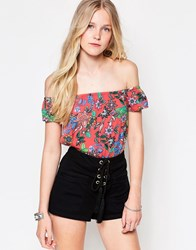 Influence Print Floral Off Shoulder Top Multi