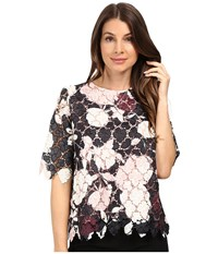 Vince Camuto Elbow Sleeve Chapel Rose Printed Lace Top Rosy Flush Women's Clothing Multi