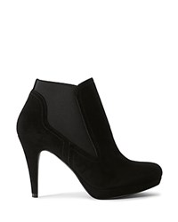 Karen Millen Classic Suede High Heel Booties Black