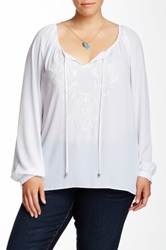 Single Dress Jasmine Embroidered Peasant Blouse Plus Size White