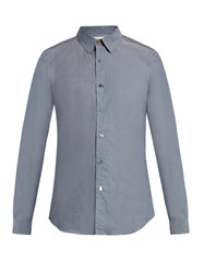 Paul Smith Charm Button Point Collar Cotton Chambray Shirt Grey