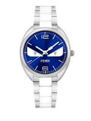 Momento Fendi Bug Diamond Stainless Steel And Ceramic Bracelet Watch Silver Blue