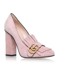 Gucci Marmont Fringed Loafer Heels 105 Female Light Pink