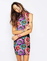 Your Eyes Lie Highneck Bodycon Dress With All Over Cat Face Flower Print Multi