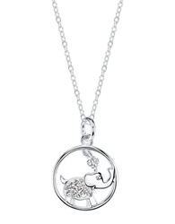 Lord And Taylor Sterling Silver Cubic Zirconia Elephant Pendant