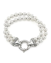 Lagos Sterling Silver Luna 2 Strand Pearl Bracelet White Silver