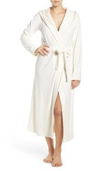 Nordstrom Women's Lingerie Hooded Plush Robe Ivory Egret