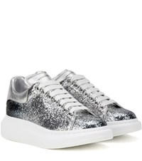 Alexander Mcqueen Glitter And Metallic Leather Sneakers Silver