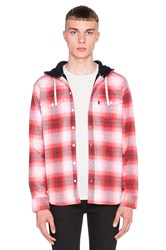 Huf Mason Hooded Flannel Button Up Red