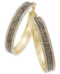Thalia Sodi Gold Tone Metal Mesh And Crystal Hoop Earrings Only At Macy's Brown