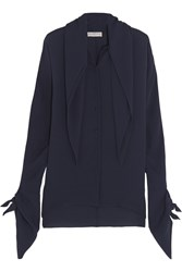 Balenciaga Layered Silk Georgette Blouse Navy